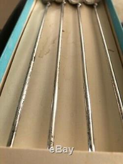 Vintage Genuine © TIFFANY &CO. Set 4 Sterling Leaf Cocktail Straw Stirrer Spoons
