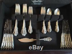 Vintage Wallace Grand Baroque Sterling Silver 12 Place Flatware Set 64 Ounces