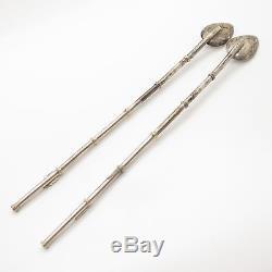 Vtg 925 Sterling Silver Set Of Long Steering Spoon Straw