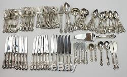 Wallace Rose Point 118 Piece Sterling Silver Flatware Set