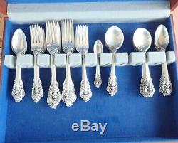 Wallace Sterling Flatware Grand Baroque 69 Piece Service For 12 + Servers