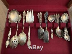 Wallace Sterling Silver Swirl W114 Set 55 Pcs Serving Service 1300g + spoons