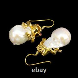 White Pearl Baroque Red Ruby 14K Gold Plate 925 Sterling Silver Frog Earrings