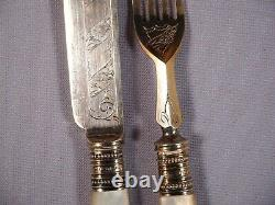 William Beatson&Sons Sheffield Band Mother Pearl Silver Plate Flatware Sterling