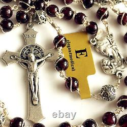 Wire Wrap Garnet & 925 Sterling Silver Beads Catholic ROSARY Crucifix NECKLACE