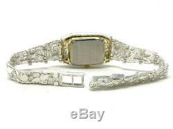 Women's 925 Sterling Silver Nugget Geneve Diamond Watch 6.5 24 grams
