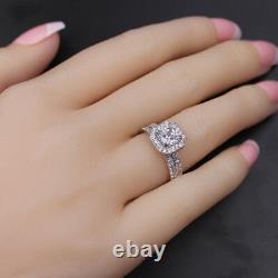 Womens 1.8 CTW Princess Cut 925 Sterling Silver CZ Wedding Engagement Ring Set