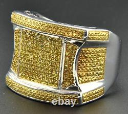Yellow Diamond Mens Pinky Ring Pave. 925 Sterling Silver 0.53 Ct