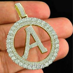 Yellow Gold Sterling Silver Initial Letter Alphabet A Lab Diamond Charm Pendant