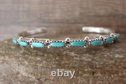 Zuni Indian Sterling Silver Turquoise Row 8 Stone Bracelet by M. Hannaweeka
