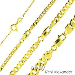 14k Or Plus 925 Sterling Silver Curb Cuban Mens Women Chain Necklace Toutes Tailles