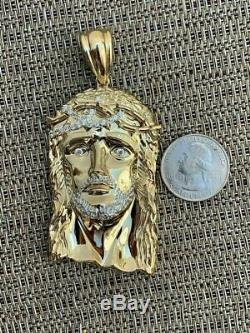 14k Or Sur Argent Massif 925 Sterling Collier Jésus Piece Grand 2,5 Italie