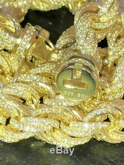 14k Or Sur Solid Real 925 Chaîne De Corde De Diamant En Argent Sterling Hommes 12mm Icy