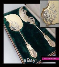 1880. Antique Français Sterling / Argent Massif & Vermeil 18k Gold Ice Cream Set 2pc