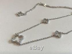 18 '' Long Ouvert Clover Lab Collier Diamond / 925 En Argent Sterling / Superbes