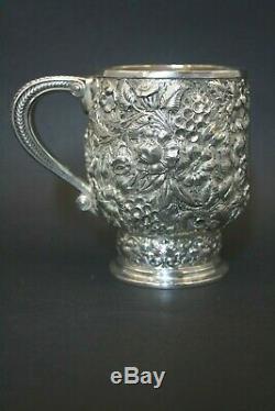 19thc Superbe Antique En Argent Sterling Tiffany & Co Gaufrée Tasse De Poignée