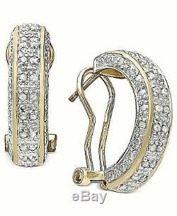 1/2 Ct Véritable Diamant Or 18k 925 Argent Sterling 200 $ Femmes Hoop Oreilles