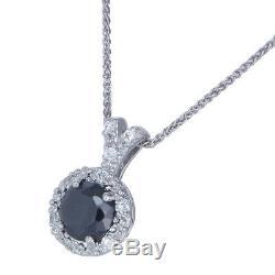 1.50 Ct Natural Black Diamond Pendentif. Argent 925 + 18 Pouces Chaîne + Box