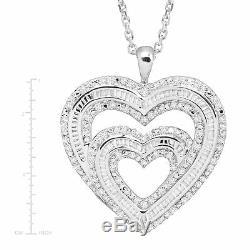 1 Ct Diamant Double Coeur Pendentif En Argent Sterling