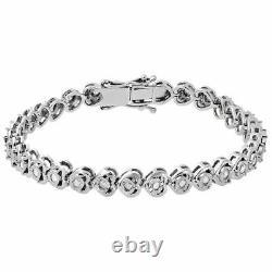 1 Rang En Forme De Coeur Diamant Rond Tennis Bracelet Bezel Argent 925 7,25