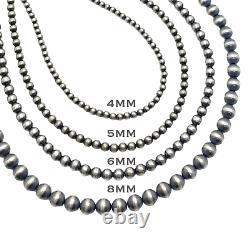 22 Navajo Pearls Sterling Silver 4mm Collier De Perles