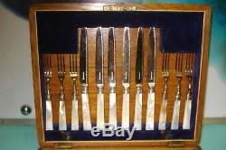 24pc Mop 1870 Mère De Perle En Argent Sterling Couteau Couteau Fourchette Boîte Set Cantine