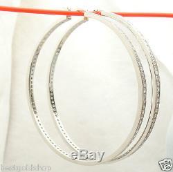 2 3/4 70mm Diamonique Cz Grand Hoop Boucles D'oreilles En Argent Sterling 925 Réel