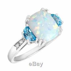 2 3/8 Ct Natural Opal & Bague Suisse Topaze Bleue Avec Des Diamants En Argent Sterling