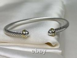 $395 David Yurman Sterling Silver 925 4mm Cable Classics Bracelet Avec 18k Gold