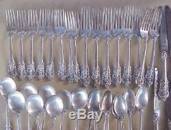 40 Pièces Wallace Grande Baroque Sterling Silver Flatware Set Pas De Monogramme