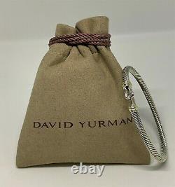 $475 David Yurman 925 Sterling Silver 4mm Cable Buckle Bracelet Avec 18k Gold
