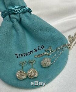 475 $ Tiffany & Co Argent 925 10mm Twist Knot Corde Boucles D'oreilles Et Pendentif Set
