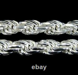 5mm Solid 925 Sterling Silver Diamond Cut Rope Chain Bracelet Ou Collier Italie