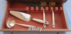 68 Pcs Pour 12 Coutellerie Danoise Royal International En Argent Sterling W Serviettes Et Boîtes