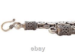 8 39g Bali Byzantine Sterling Silver 925 Solid Chain Link Mens Jewelry Bracelet
