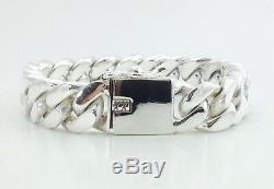8,5 121g Men's Heavy Biker Cuban Kerb Chain link Argent 925 Bracelet