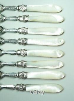 8 Nacre Handled Salade Dessert Forks En Argent Sterling Colliers Gravé