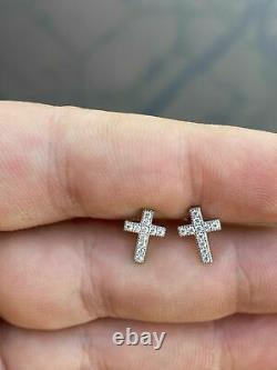 925 Argent Réel Hommes Femmes Croix Boucles D'oreilles À Vis De Retour Stud Diamant Rond