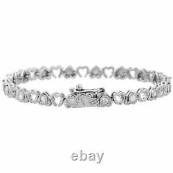 925 Ronde En Argent Sterling Diamant Double Coeur Tennis Bracelet En Or Blanc 10k Fn