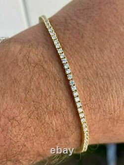 925 Sterling Argent 2mm Tennis Femmes Bracelet Diamant 7.25 14k Or Jaune Plus