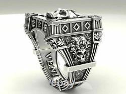 925 Sterling Silver Vampire Skull Black Diamond Gothic Men's Biker Ring Oxydé