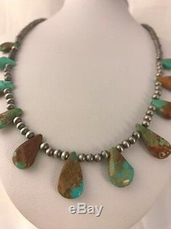Amérindien Navajo Perles En Argent Sterling Royston Collier Turquoise Gift377
