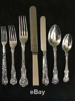 Anglais Sterling Kings Queens Pattern Set De Flatware Des Années 1840 Pour 10 Personnes -68pcs