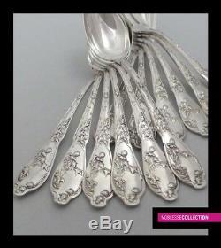 Antique 1890 Ensemble Flatware Dinner Argent Francais 12 Chardon Art Nouveau