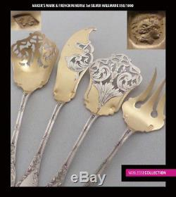 Antique Des Années 1890 Francais Argent Sterling & Vermeil Gold Dessert / Petit Four Set 4 Pc
