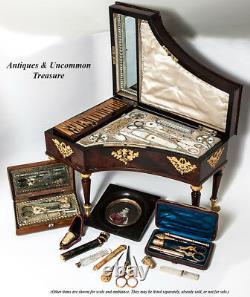 Antiquité Français Vermeil Sterling Silver Embroidery Or Couture Tools, Souvenir Etui