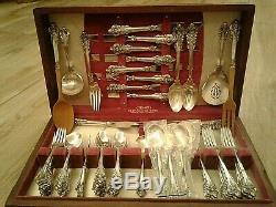 Antiquité Grand Baroque Wallace Argent Sterling Ensemble Flatware De 78 Pieces Pour 12