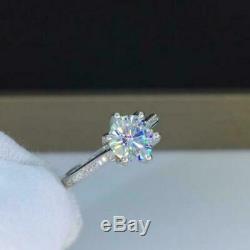 Argent 925 2,30 Ct Diamant Rond 6 Prong Set Solitaire Bague De Fiançailles