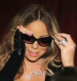 Argent 925 Cz Mariah Carey Inspiré Anneau Papillon Parfait Fan Cadeau Sz