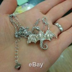 Argent 925 Game Of Thrones Daenerys Targaryen Dragon Collier Avec Pendentif